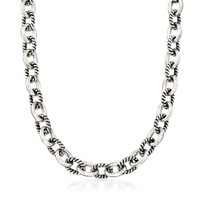 Zina Sterling Silver Twisted Combination Link Necklace, , default