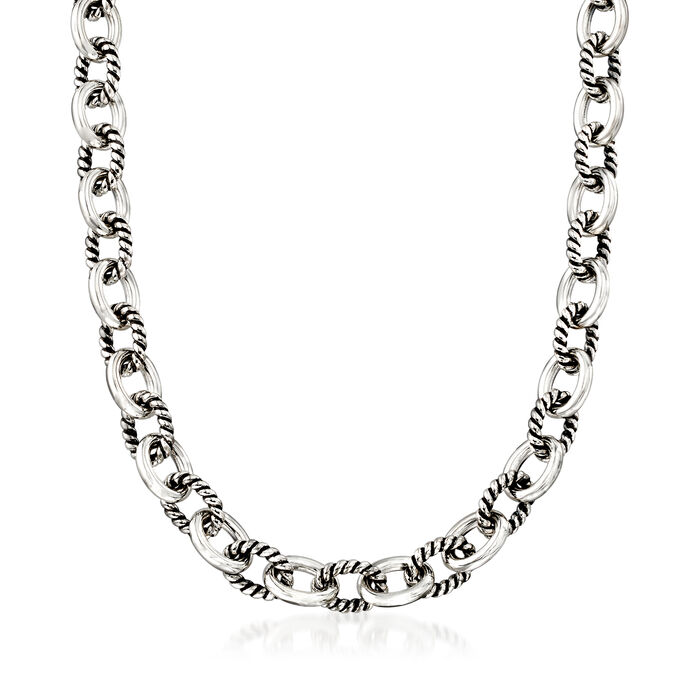 Zina Sterling Silver Twisted Combination Link Necklace