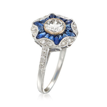 C. 2016 1.20 ct. t.w. Sapphire and .86 ct. t.w. Diamond Burst Ring in 18kt White Gold. Size 6.75, , default