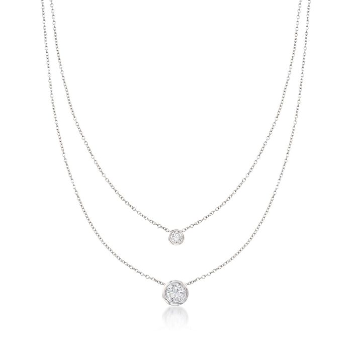 """1.45 ct. t.w. Bezel-Set CZ Layered Necklace in Sterling Silver. 16"""", , default"""