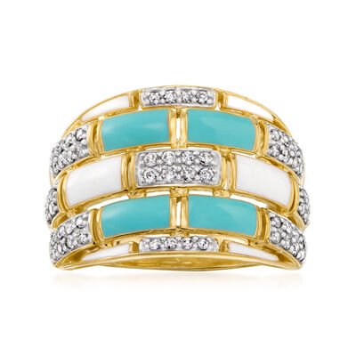 .50 ct. t.w. Diamond and Enamel Geometric Ring in 18kt Gold Over Sterling