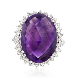 14.00 Carat Amethyst and 1.40 ct. t.w. White Topaz Ring in Sterling Silver, , default
