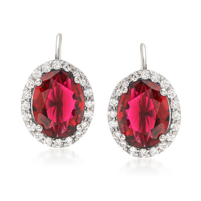 4.52 ct. t.w. Red and White Oval CZ Halo Earrings in Sterling Silver, , default