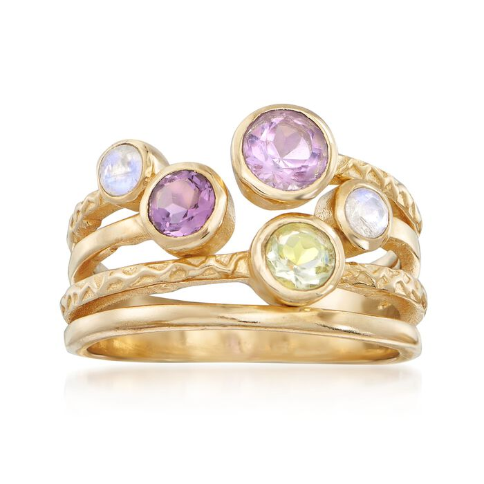 Moonstone, 7.00 ct. t.w. Amethyst and 3.00 Carat Green Prasiolite Ring in 18kt Gold Over Sterling