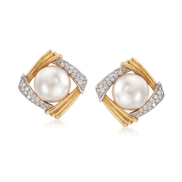 C. 1970 Vintage Mabe Pearl and 1.70 ct. t.w. Diamond Earrings in 14kt Yellow Gold