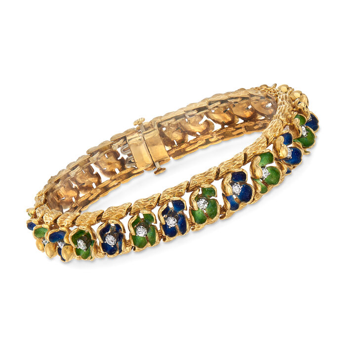"""C. 1970 Vintage 1.30 ct. t.w. Diamond Floral Bracelet with Blue and Green Enamel in 18kt Yellow Gold. 7"""", , default"""