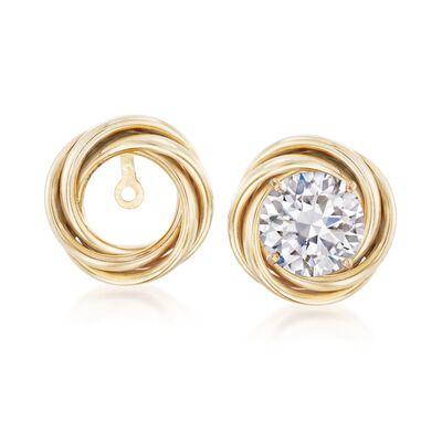 14kt Yellow Gold Swirl Earring Jackets, , default