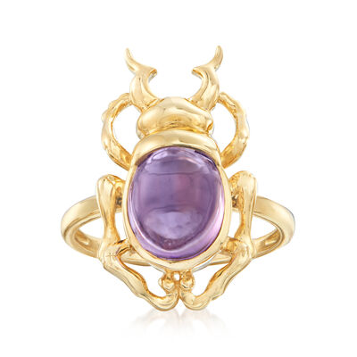 2.50 Carat Amethyst Beetle Ring in 14kt Yellow Gold, , default