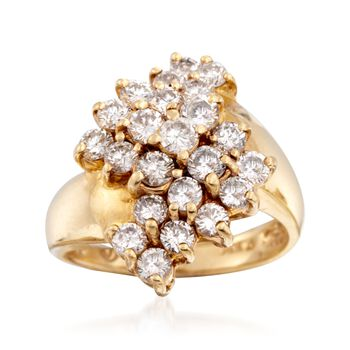 C. 1980 Vintage 2.30 ct. t.w. Diamond Ring in 14kt Yellow Gold. Size 6, , default
