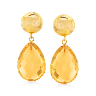 14.00 ct. t.w. Citrine Drop Earrings in 14kt Yellow Gold