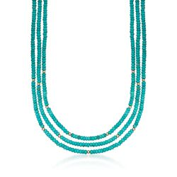 Turquoise Bead Three-Strand Necklace With 14kt Yellow Gold, , default