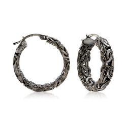 Sterling Silver Byzantine Hoop Earrings in Black, , default