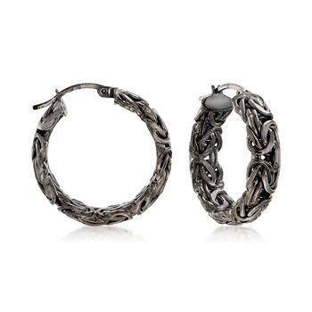 "Sterling Silver Byzantine Hoop Earrings in Black. 1"", , default"