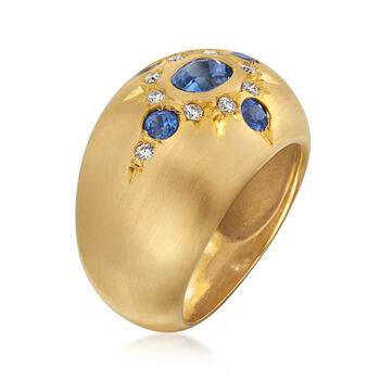 Mazza 1.33 ct. t.w. Sapphire Ring with Diamond Accents in 14kt Yellow Gold. Size 6.5, , default
