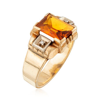 C. 1960 Vintage 3.20 Carat Synthetic Yellow Sapphire Ring with Diamond Accents in 14kt Yellow Gold. Size 7.5