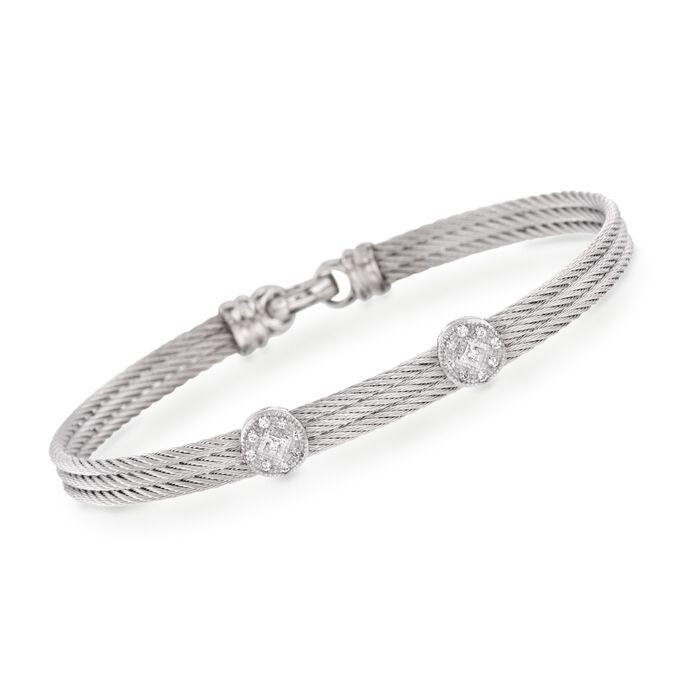 "ALOR ""Classique"" Gray Cable Double-Station Bracelet with Diamond Accents and 18kt White Gold. 7"", , default"