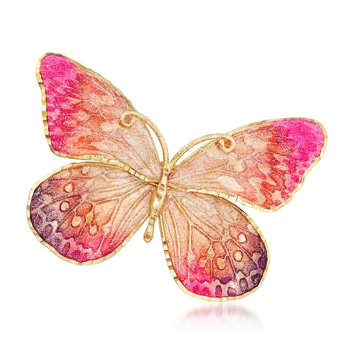 Italian Ceramic Pink and Orange Butterfly Pin in 14kt Yellow Gold
