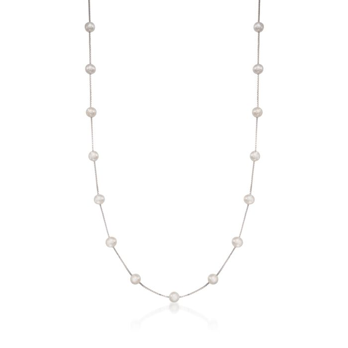 6-6.5mm Cultured Pearl Station Necklace in Sterling Silver, , default