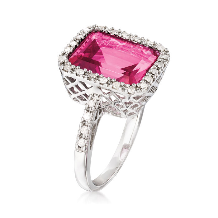 6.50 Carat Pink Topaz and .25 ct. t.w. Diamond Ring in Sterling Silver