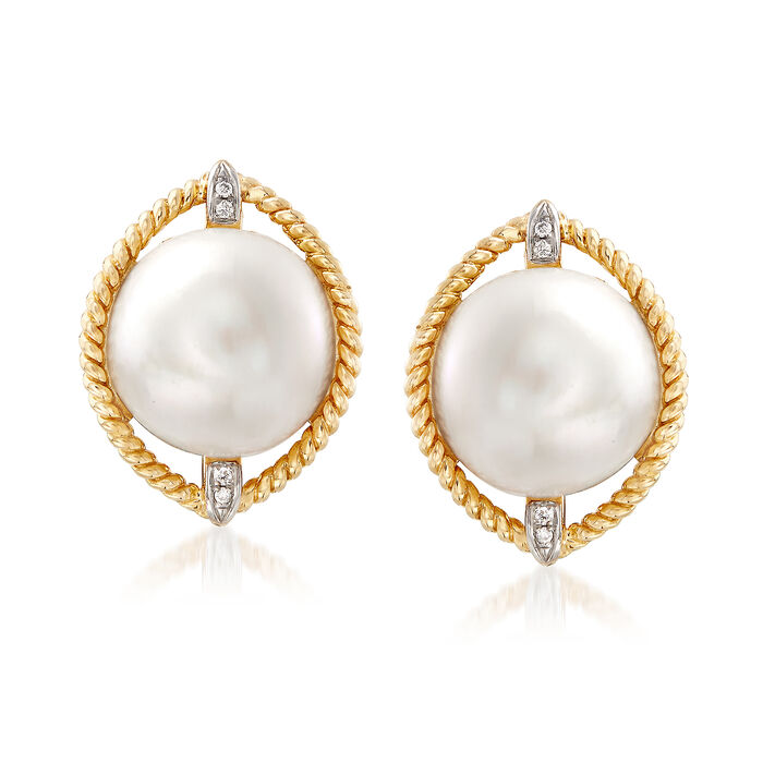 Mabe Pearl Earrings with Diamond Accents in 14kt Yellow Gold, , default