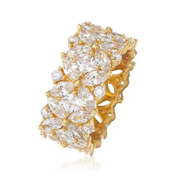 7.30 ct. t.w. Multi-Cut CZ Floral Eternity Band in 18kt Gold Over Sterling, , default