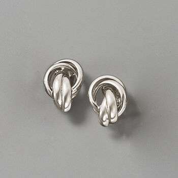 Sterling Silver Woven X Clip-On Earrings, , default