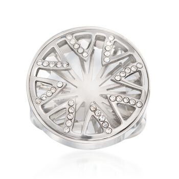 What's Your Sign? Simulated Clear Quartz and Rhinestone Starburst Ring in Stainless Steel, , default
