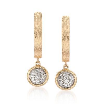 .20 ct. t.w. Diamond Circle Drop Earrings in 14kt Yellow Gold