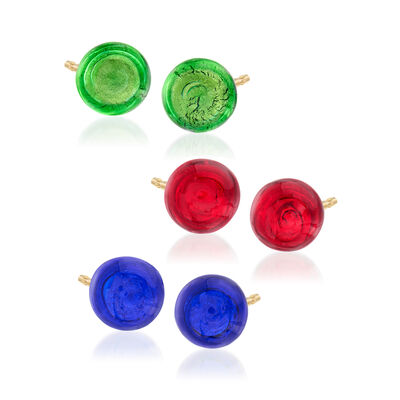 Italian Multicolored Murano Glass Bead Jewelry Set: Three Pairs of Stud Earrings in 18kt Yellow Gold Over Sterling Silver, , default