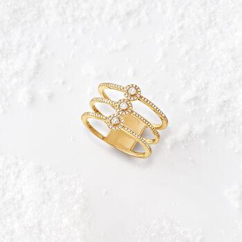 .25 ct. t.w. Diamond Three-Row Ring in 14kt Yellow Gold, , default