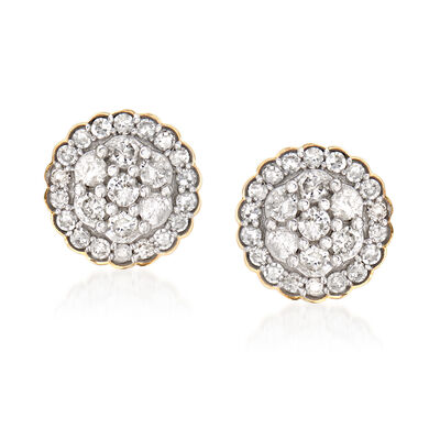 .50 ct. t.w. Diamond Cluster Earrings in 14kt Yellow Gold, , default