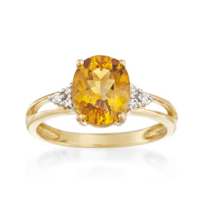 2.65 Carat Citrine and Diamond Ring in 14kt Yellow Gold, , default