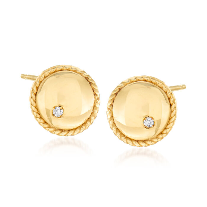 "Phillip Gavriel ""Italian Cable"" Stud Earrings with Diamond Accents in 14kt Yellow Gold"