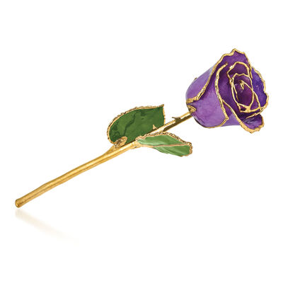 Lacquer-Dipped Gold-Plated Lilac Rose, , default