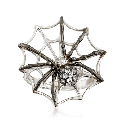 .10 ct. t.w. White Topaz Spider and Web Ring in Sterling Silver, , default