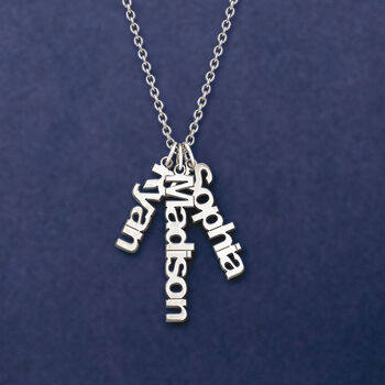 Sterling Silver Personalized Name Charm Necklace, , default
