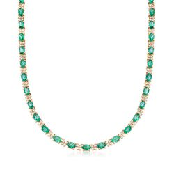 "20.00 ct. t.w. Emerald and 3.25 ct. t.w. Diamond Tennis Necklace in 14kt Yellow Gold. 16"", , default"