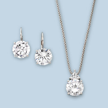 6.75 ct. t.w. CZ Pendant Necklace in Sterling Silver, , default