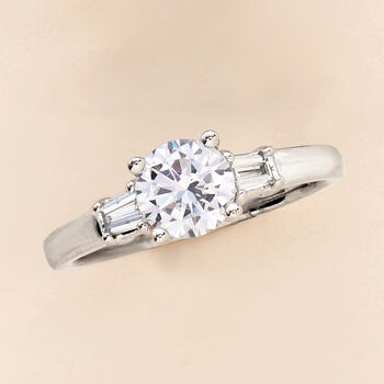 .24 ct. t.w. Baguette Diamond Engagement Ring Setting in 14kt White Gold, , default