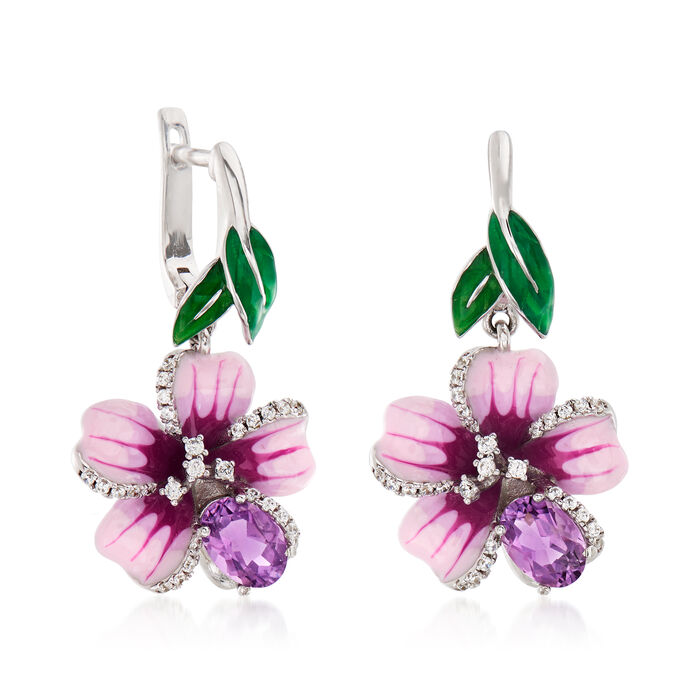 1.40 ct. t.w. Amethyst and .28 ct. t.w. White Topaz Flower Drop Earrings with Multicolored Enamel in Sterling Silver