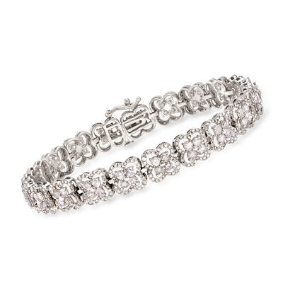 5.50 ct. t.w. Diamond Floral Bracelet in 14kt White Gold