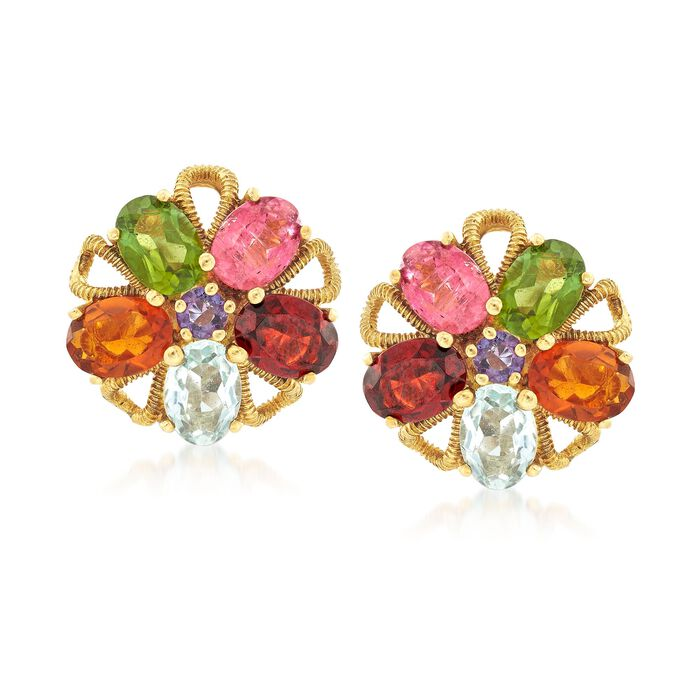C. 1970 Vintage 7.80 ct. t.w. Multi-Stone Floral Earrings in 18kt Yellow Gold
