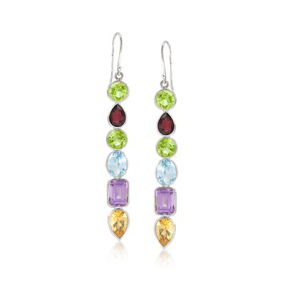13.80 ct. t.w. Multi-Shaped Multi-Stone Drop Earrings in Sterling Silver, , default