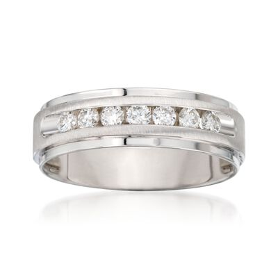 Men's .50 ct. t.w. Diamond Wedding Ring in 14kt White Gold, , default