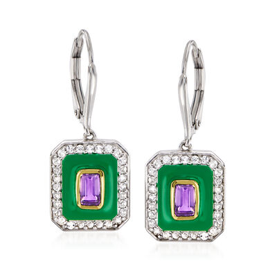 .60 ct. t.w. Amethyst, .60 ct. t.w. White Topaz and Green Enamel Drop Earrings in Sterling Silver with 14kt Yellow Gold