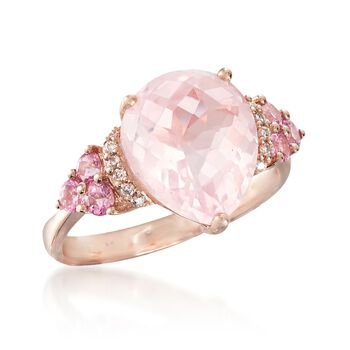 4.80 Carat Rose Quartz and .40 ct. t.w. Pink Tourmaline Ring With Diamond Accents in 14kt Rose Gold, , default