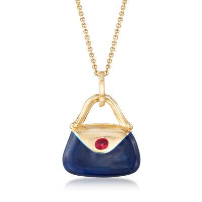 C. 2000 Vintage Multicolored Enamel Purse Pendant Necklace in 14kt Yellow Gold, , default