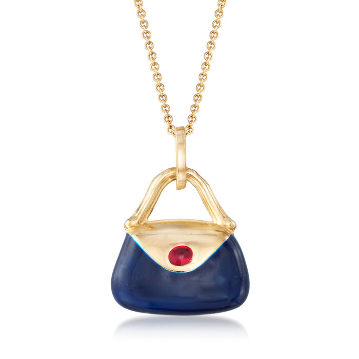 "C. 2000 Vintage Multicolored Enamel Purse Pendant Necklace in 14kt Yellow Gold. 18"", , default"