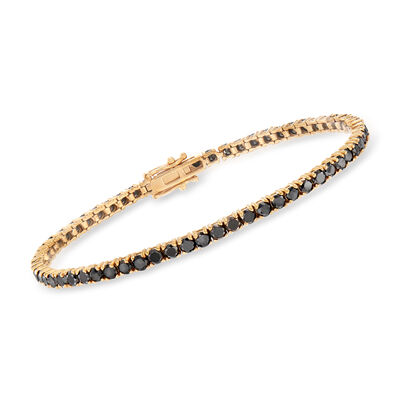 5.00 ct. t.w. Black Diamond Tennis Bracelet in 14kt Yellow Gold