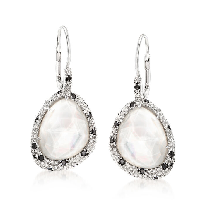 """Phillip Gavriel """"Popcorn"""" Mother-Of-Pearl and Rock Crystal Quartz Drop Earrings with .30 ct. t.w. Black Spinel in Sterling Silver"""
